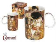 CARMANI Art Collection - Porcelain Cup decorated with Klimt: The Kiss